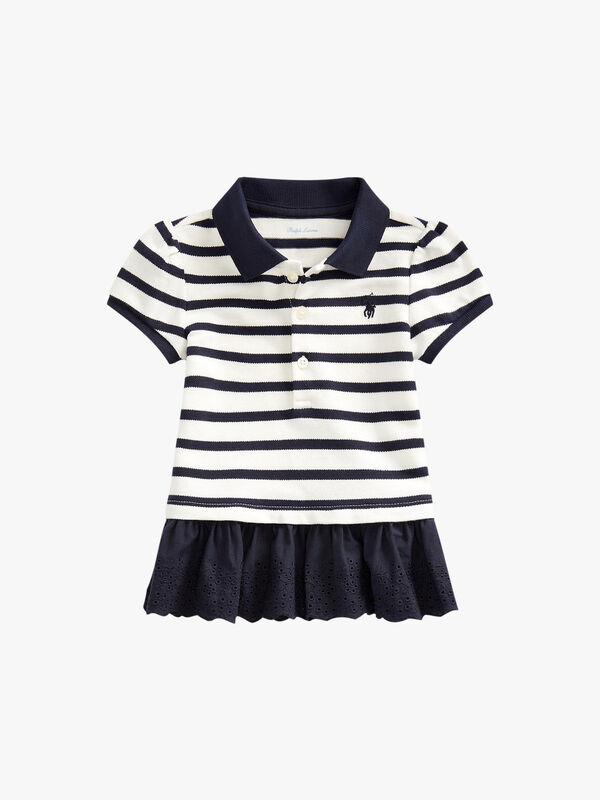 Eyelet-Hem Striped Polo Shirt