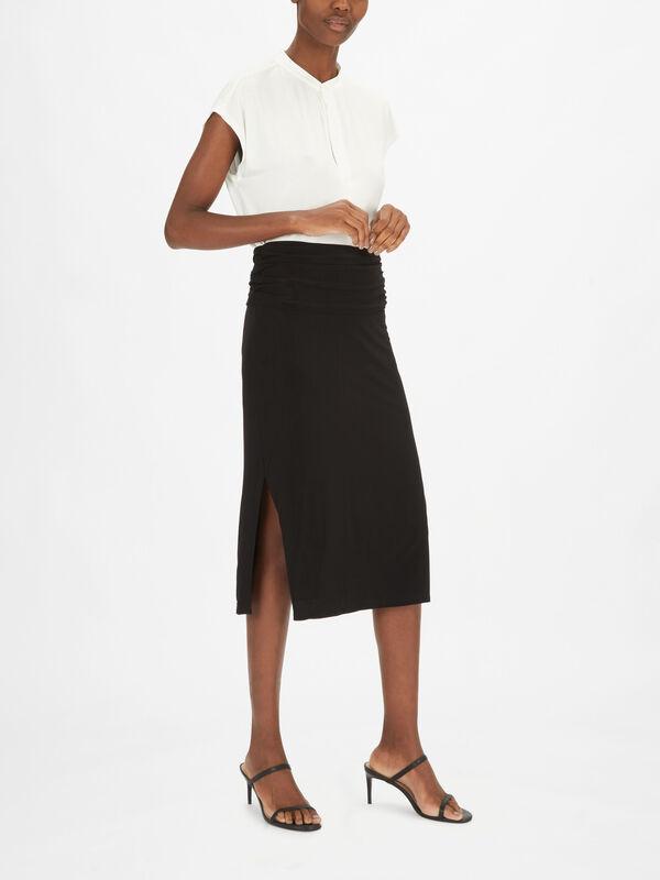 Ruched Midi Pencil Skirt