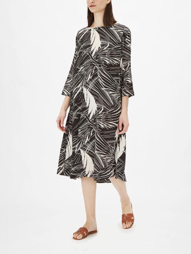 Nabia Graphic Bird Print A Line Midi Dress