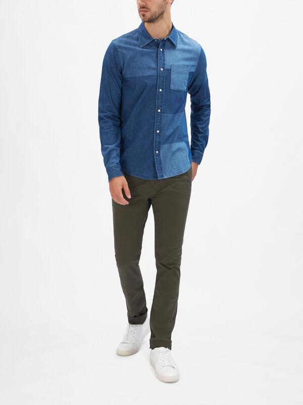 Ams Blauw Patchwork Denim Shirt
