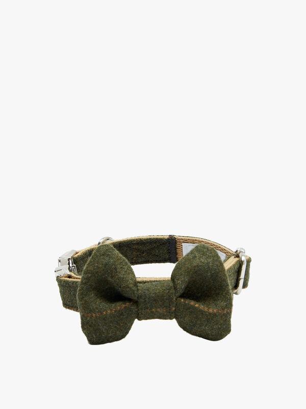 Green Tartan Harris Tweed Dog Collar Medium