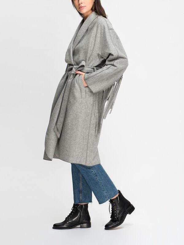 Fringe Detail Belted Coat