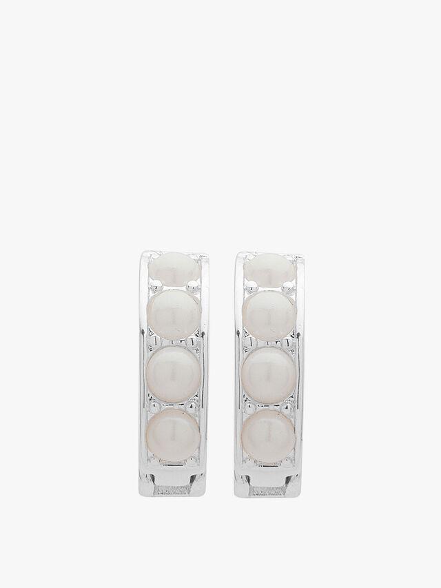 White Pearl and Silver Tone Huggie Hoop Earrings