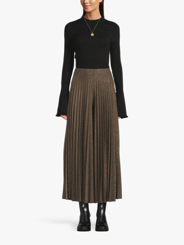 Elinor Lurex Pleated Maxi Skirt