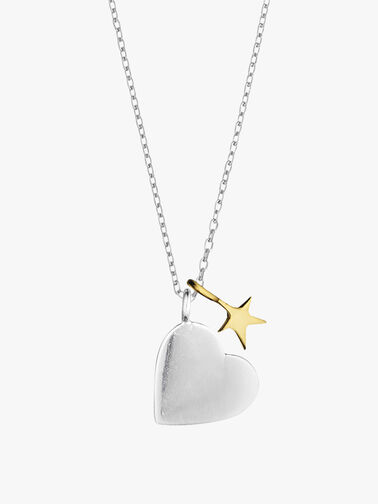 Two Tone Heart and Star Necklace
