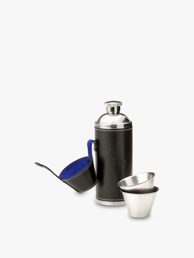 8oz Hunter Leather Flask Set