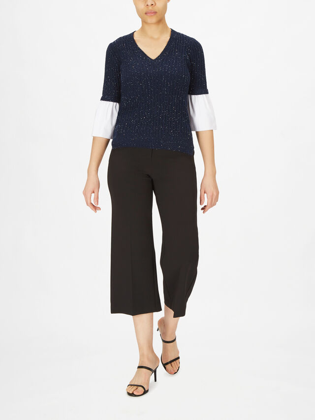 Metallic Cable Knit with Cotton Peplum