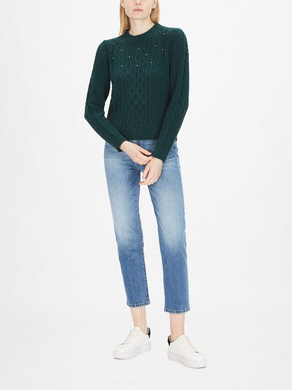 Ennio Embellished Cable Knit Jumper