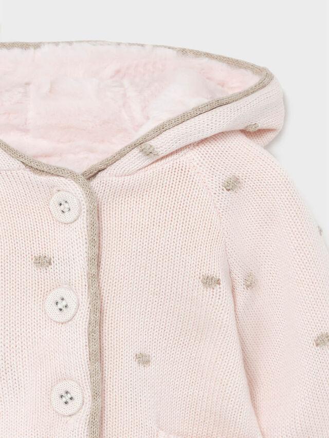 Pompon knit cardigan
