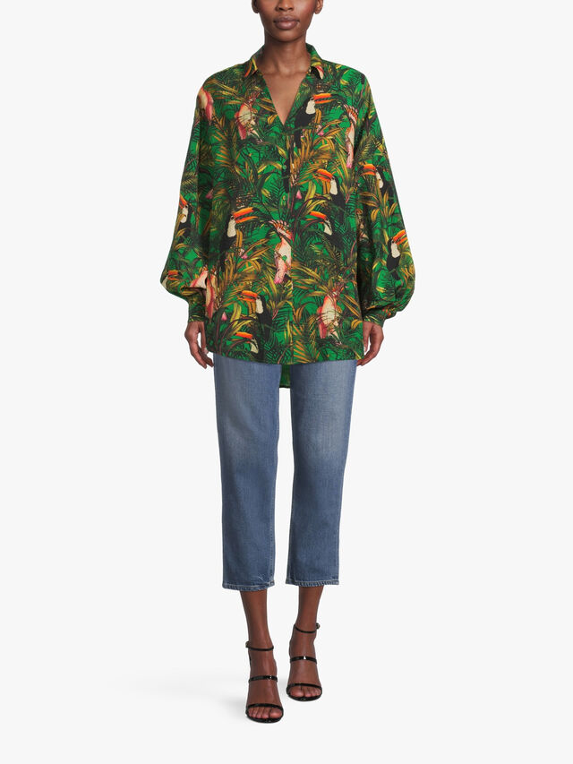 Oversized Parrot Printed Shirt