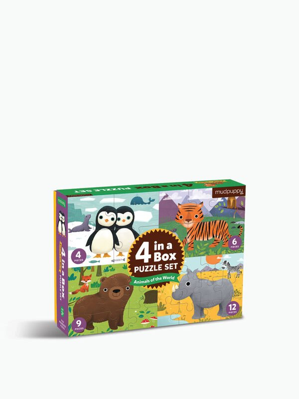 4 In A Box Puzzle Animals Of The World
