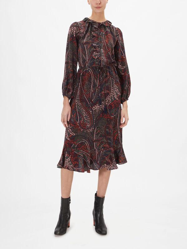 Pryska Paisley Ruffle Midi Dress