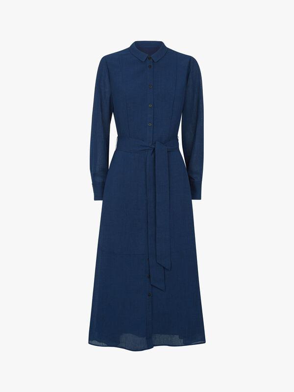 Collared Long Sleeve Midi Shirt Dress