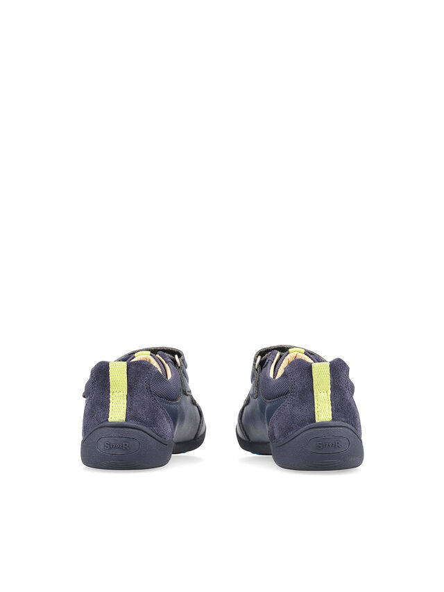 Zigzag Navy Leather Pre School Shoes