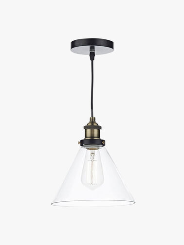 Ray 1 Light Pendant Antique Brass Clear