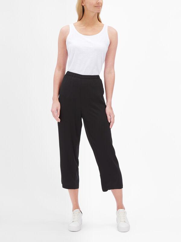 Silk Georgette Crepe Straight Crop Pants
