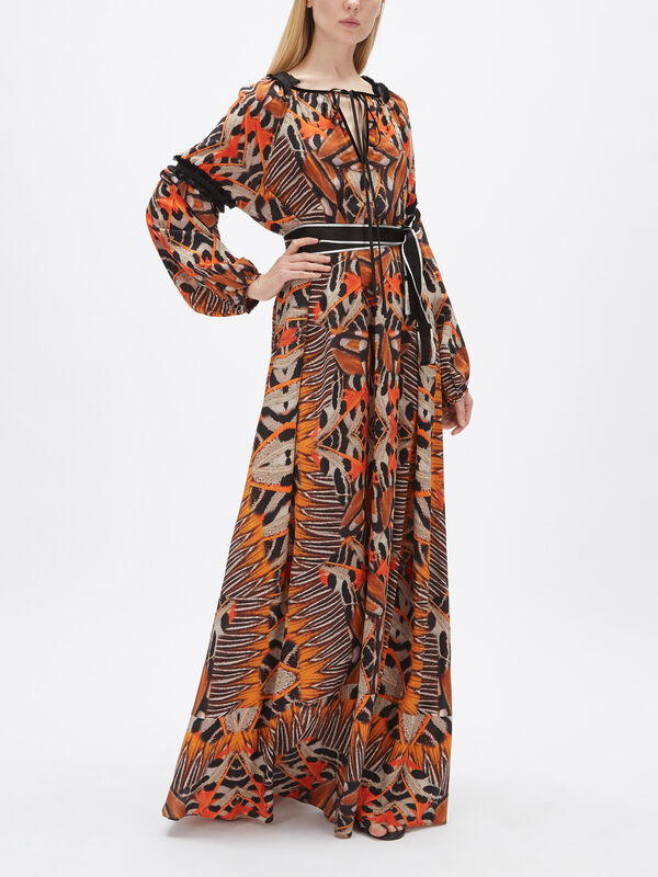 Moth Print Maxi Dress