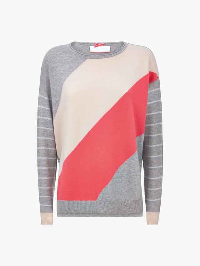 Stripe Sleeve Colour Block Knit