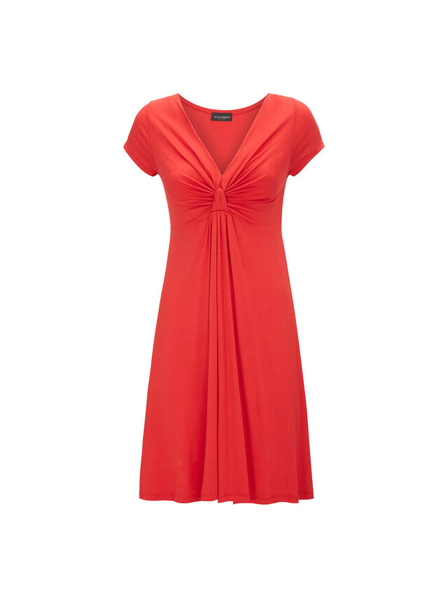 V Knot Jersey Cap Sleeve Dress