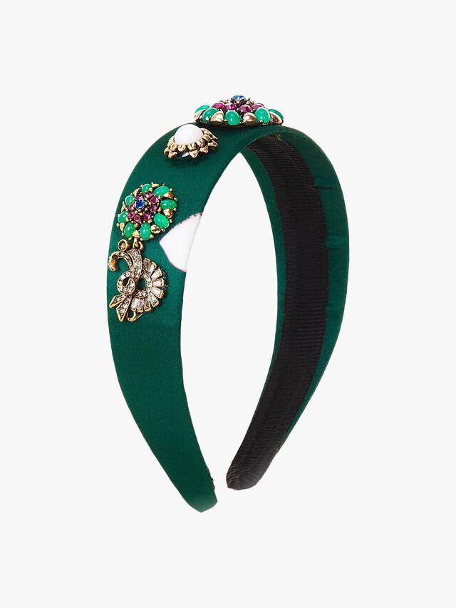 Printed Embellished Flowers Crown Headband