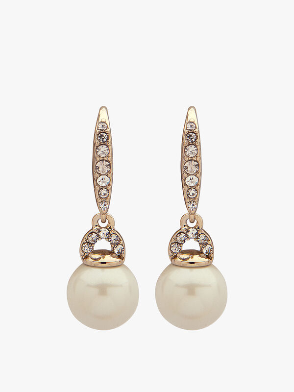 Gold Tone Crystal Drop Pearl Earrings