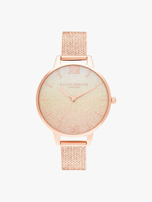 Sunset Ombre Glitter Demi Dial Rose Gold Boucle Mesh Watch