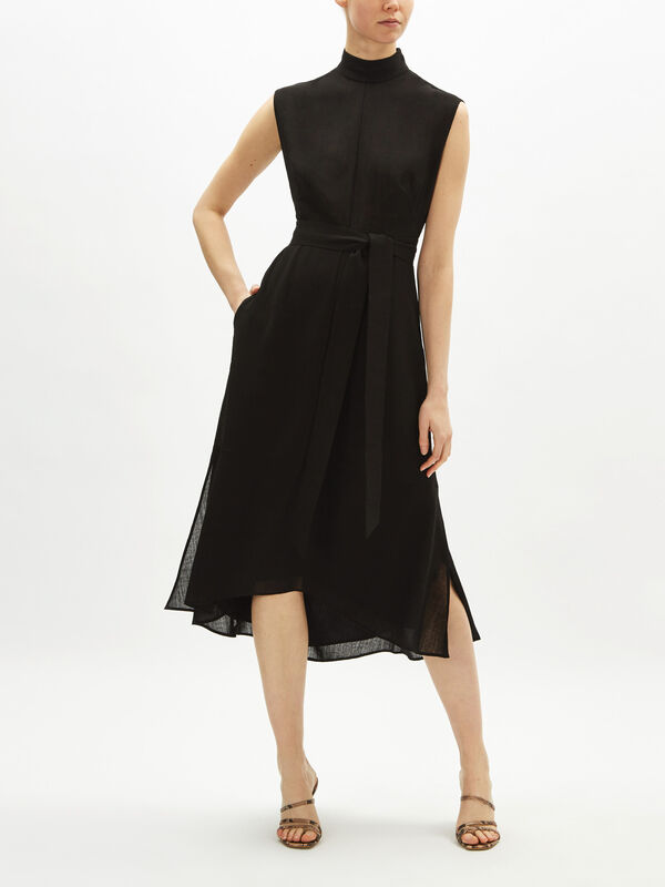 Sleeveless Stand Collar Midi Dress