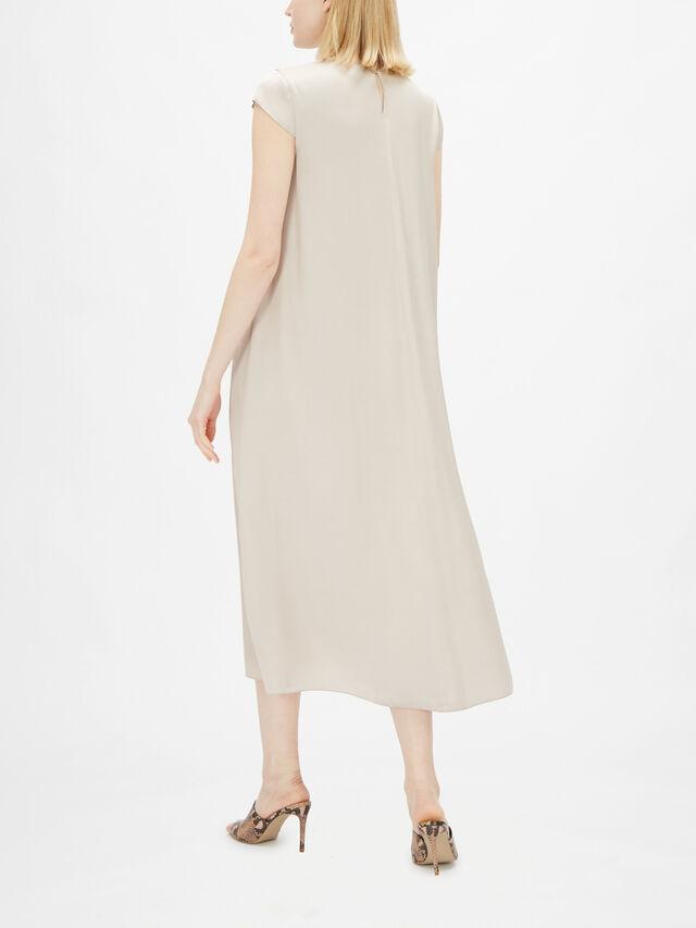 Cap Sleeve A Line Midi Dress With Drawstring Waist