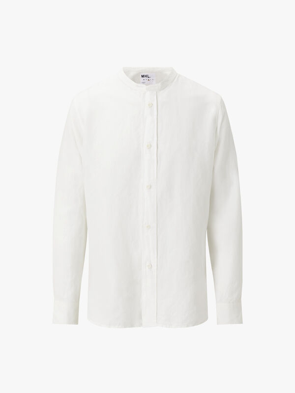 Collarless Vintage Cotton Linen Shirt