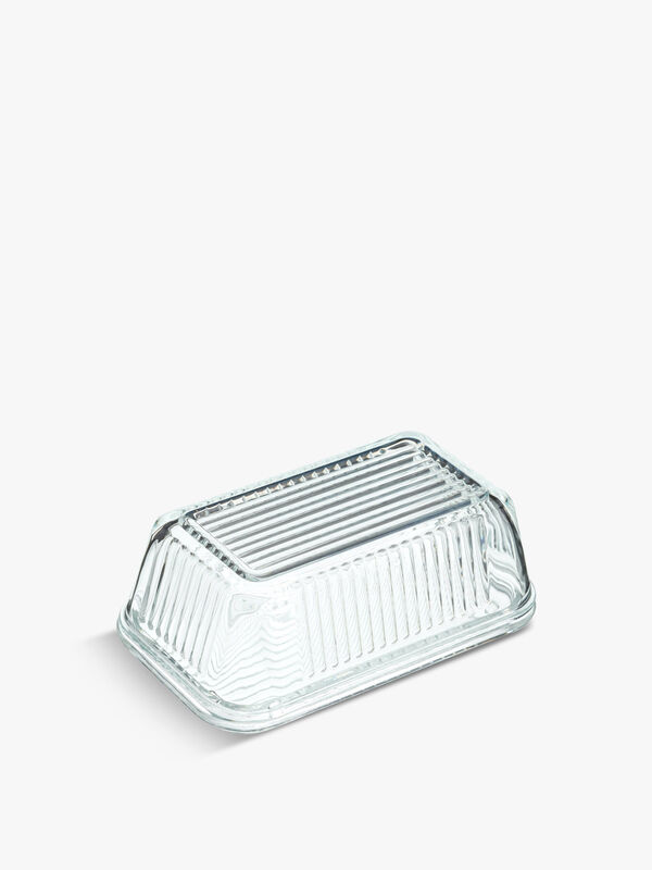 Glass Embossed Vintage Style Butter Dish