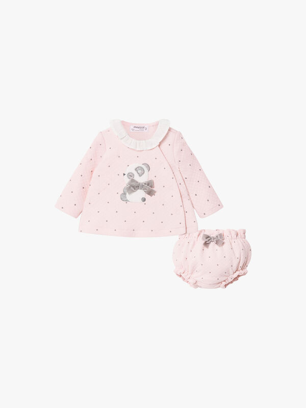 Qulited And Spot Bloomer Set