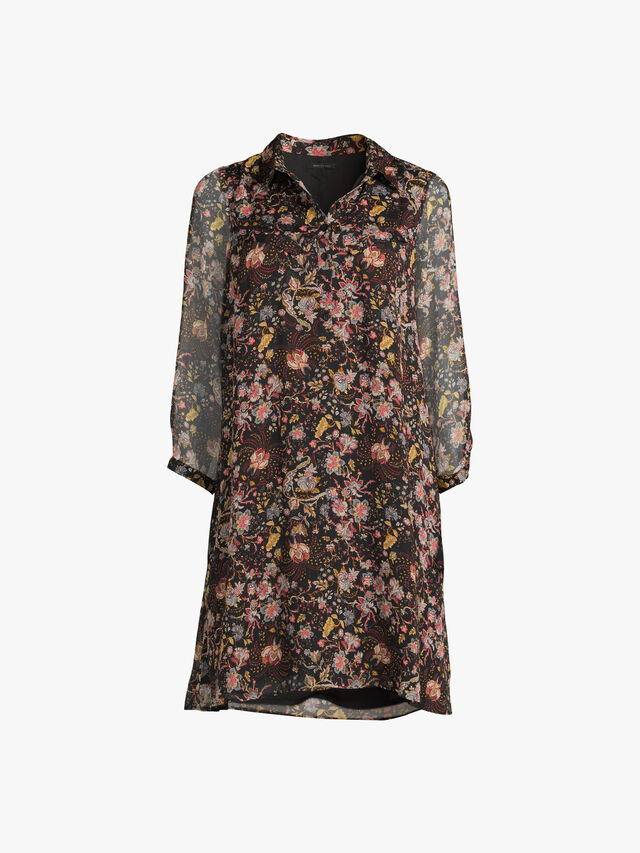 Nordic Escape Wild Flower Printed Dress