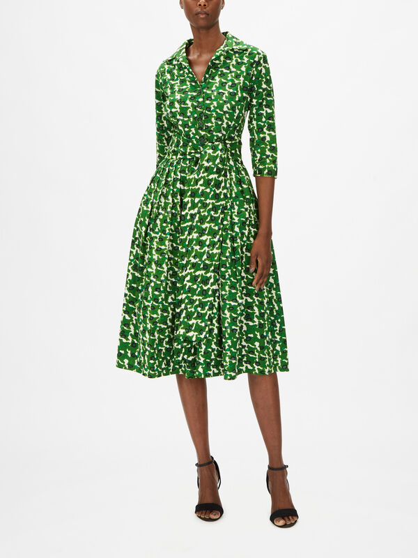 3/4 Sleeve Midi Dress With Hounds Dots