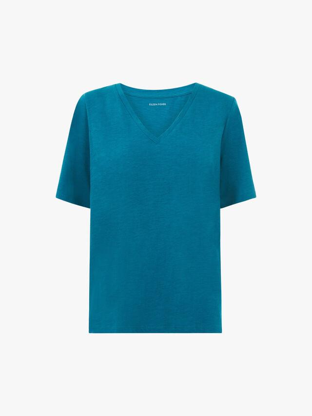 V-Neck Short Sleeve Top w/ side slits