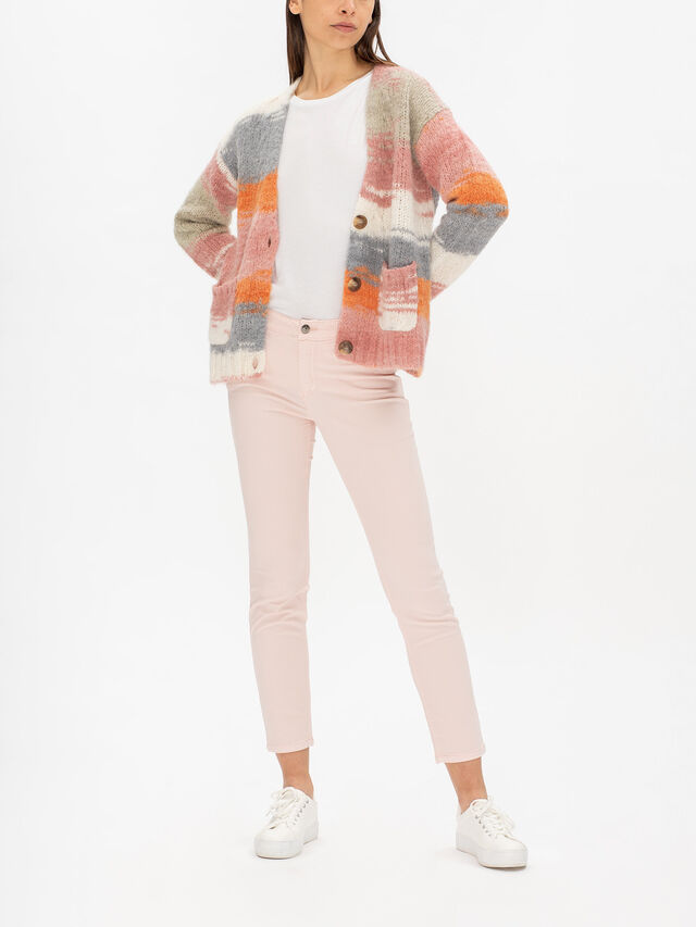 Fluffy One Button Mix Cardigan