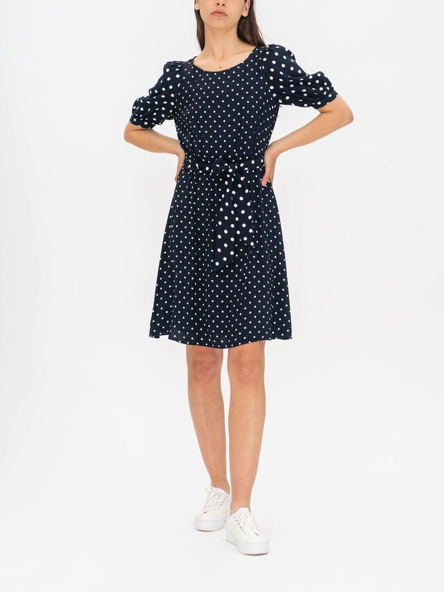 Alberta Polka Dot Short Sleeve Round Neck Dress