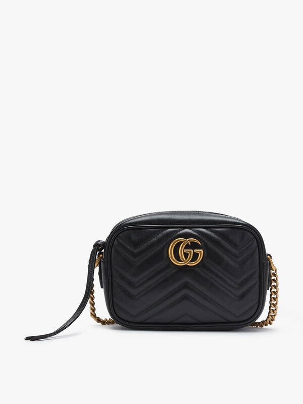Gucci Black Leather GG Marmont Crossbody Mini