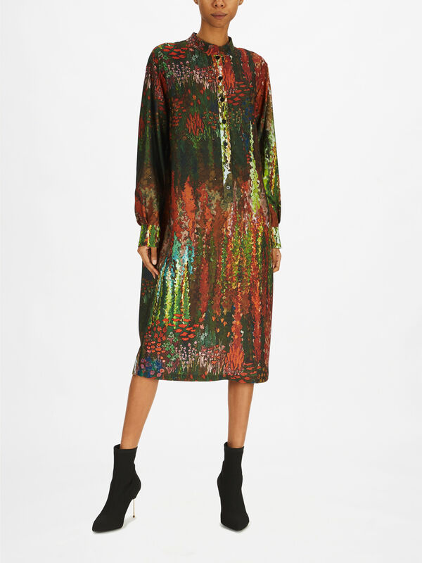 Dimora Printed Mandarin Collar Dress