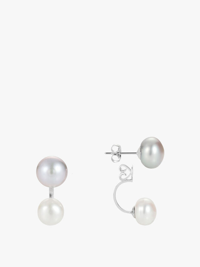 Duo Silver and White Pearl Earrings