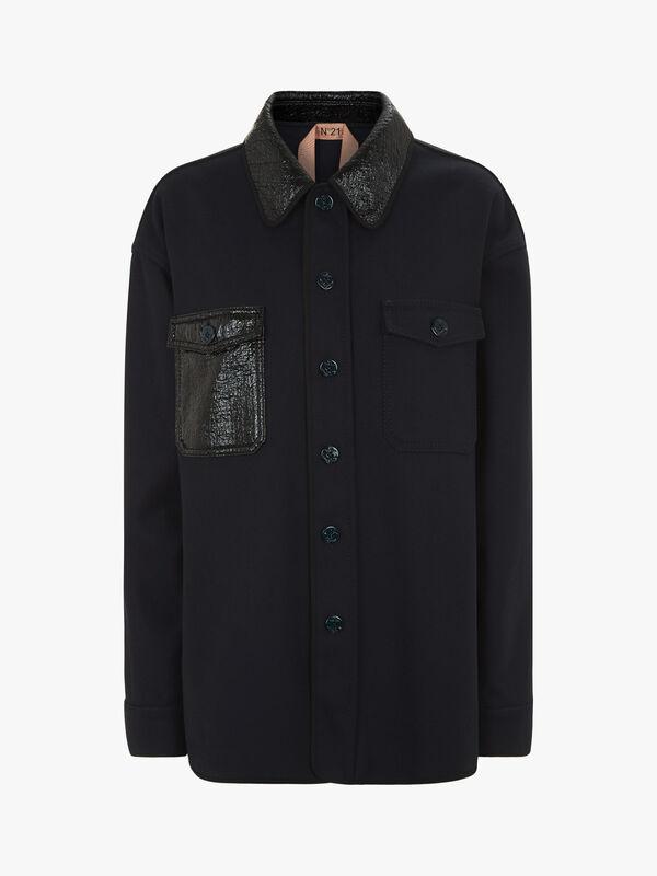 Contrast Material Pocket Shirt