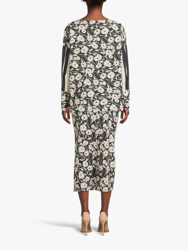 Drop Hem Flower Print Cotton Blouse