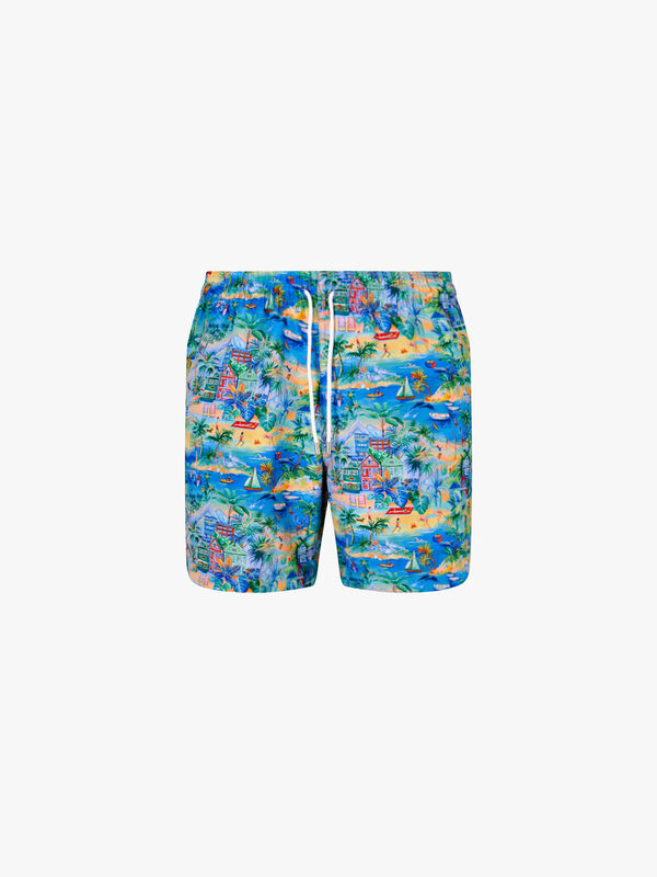 Maui Tropical Print Swim Short