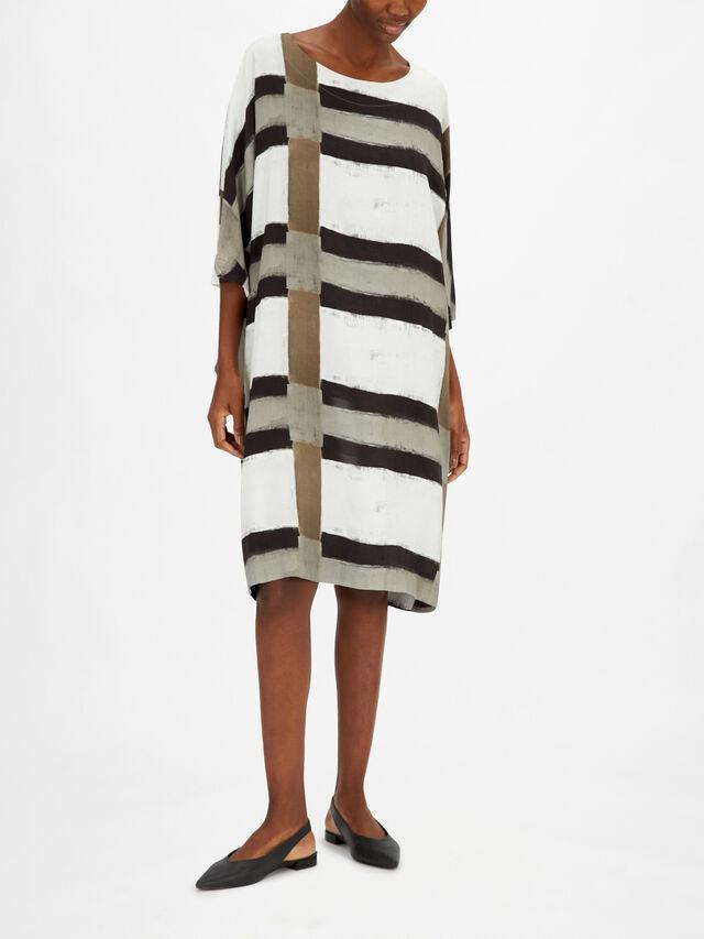Striped Button Down Puffball Linen Dress