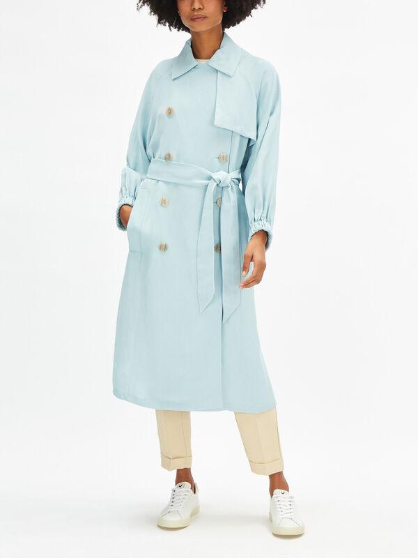 Linen Blend Trench Coat