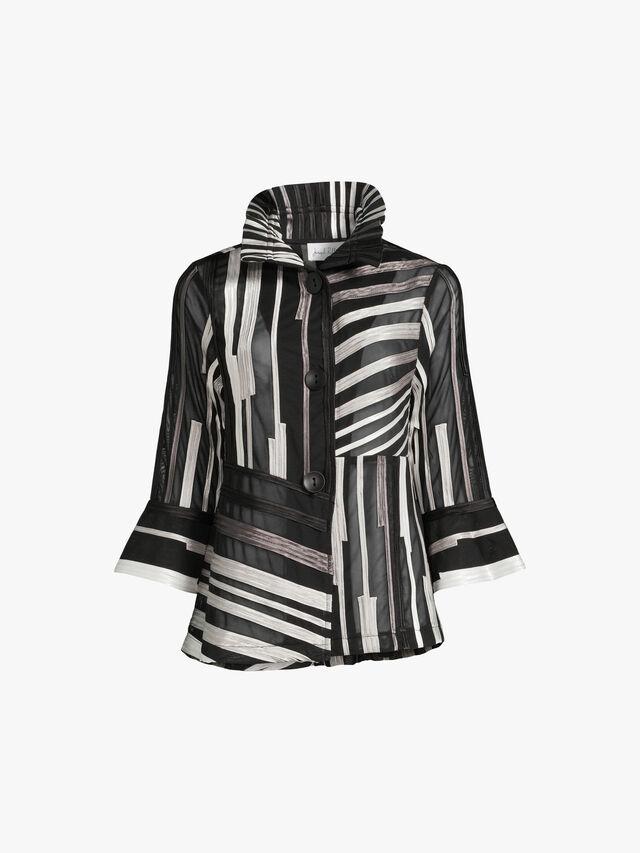 Ribbon Texture Stripe Sheer Jacket