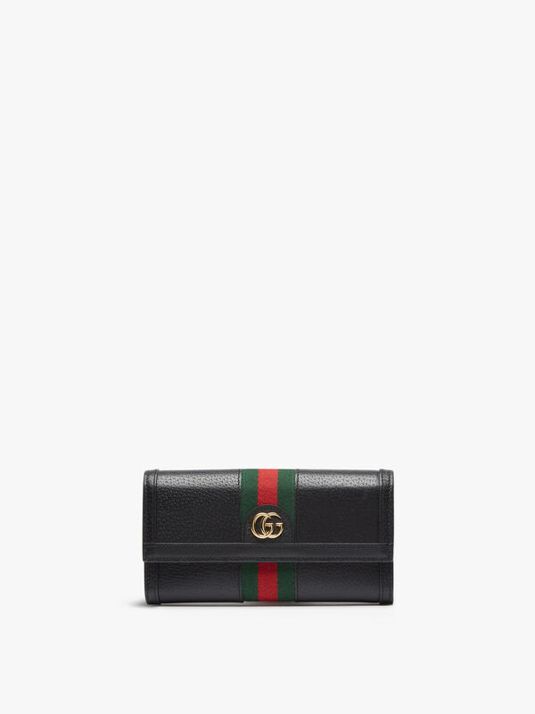 Gucci Black Leather Ophi Diagonal Continental Wallet