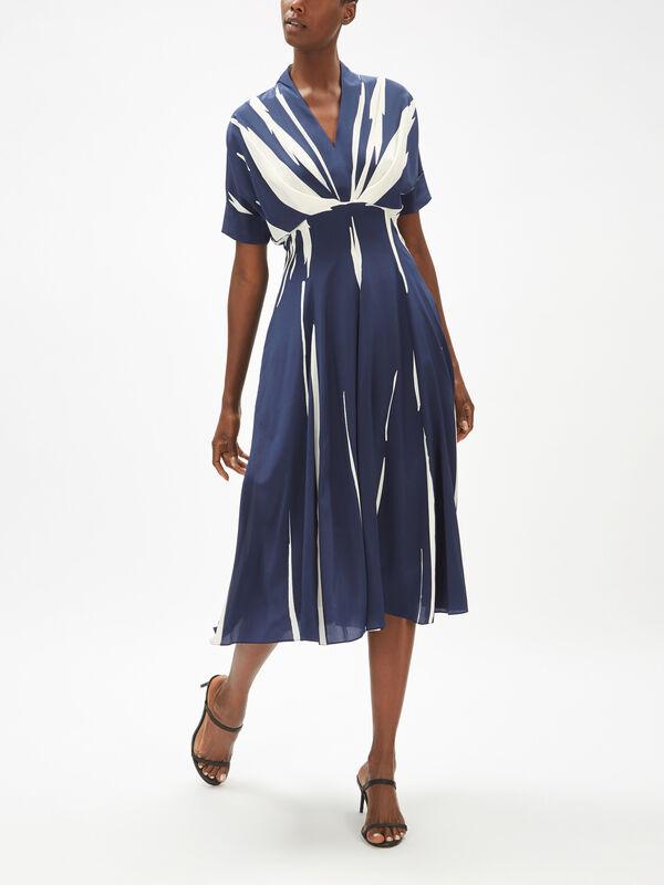 Stripe Silk Shirt Dress
