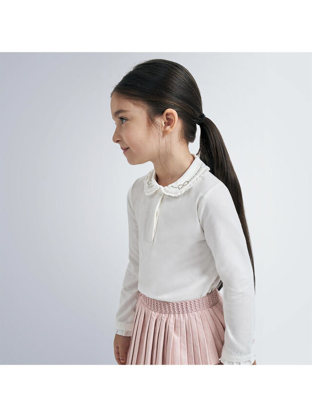 Jersey Top With Embellished Collar