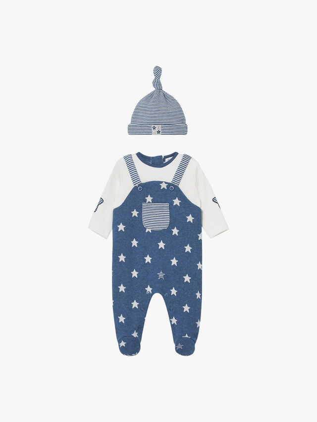 Star Dungaree Babygrow With Hat