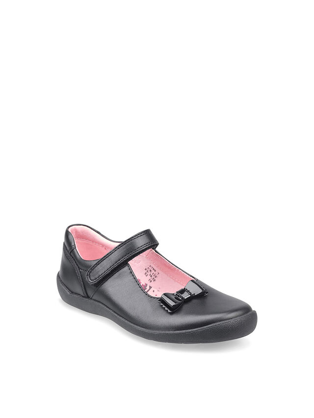 Giggle Black Leather School Shoes